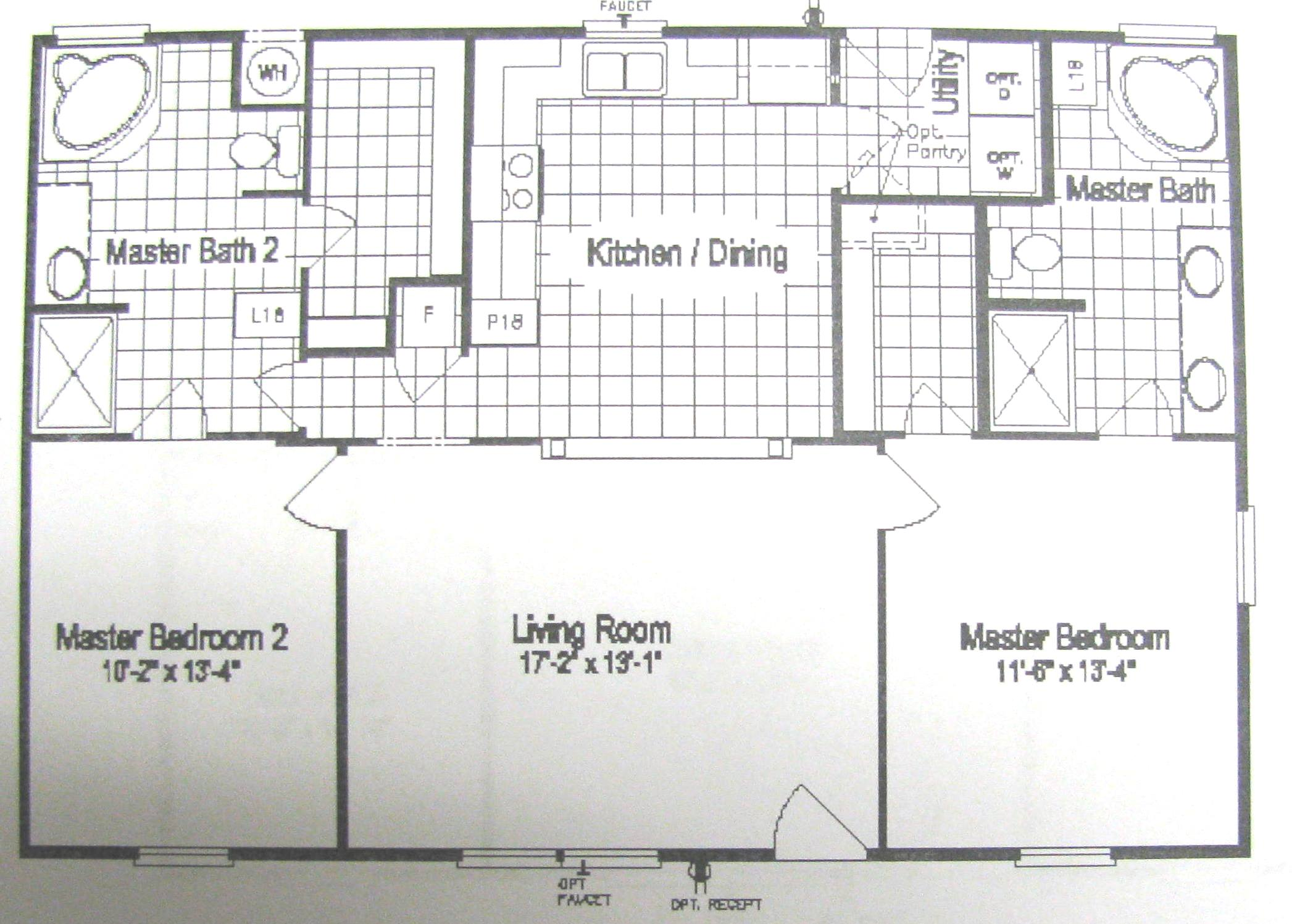 Floor plans for site built mobile and modular homes san for Modular home floor plans with two master suites