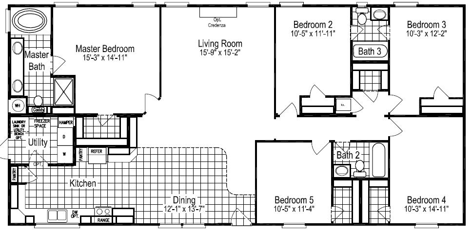 Floor plans for site built mobile and modular homes san for 5 bedroom mobile homes